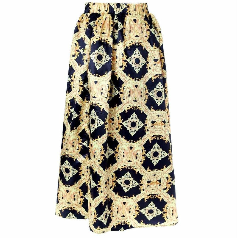 Posh Shoppe: Plus Size Baroque Print Ballgown Skirt with Lace Bottoms