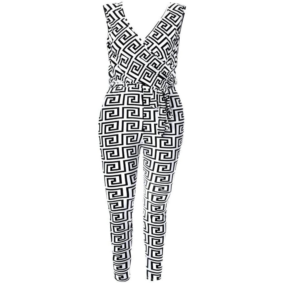 Plus Size Drape Top Geo Print Jumpsuit, Black and White