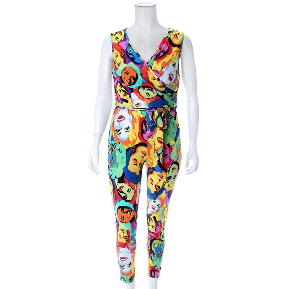 Plus Size Drape Top Pop Art Print Jumpsuit
