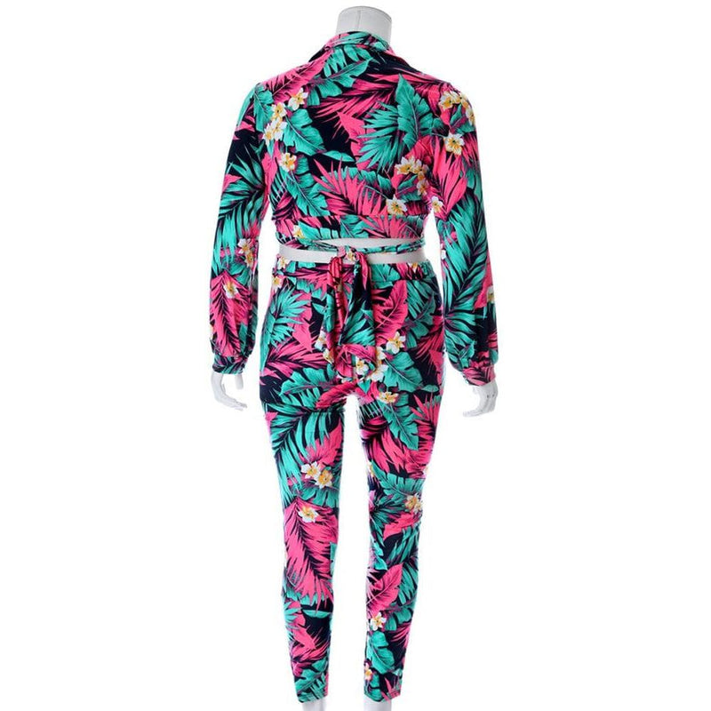 Posh Shoppe: Plus Size 2 Piece Wrap Top and Leggings Set, Pink Palms Bottoms