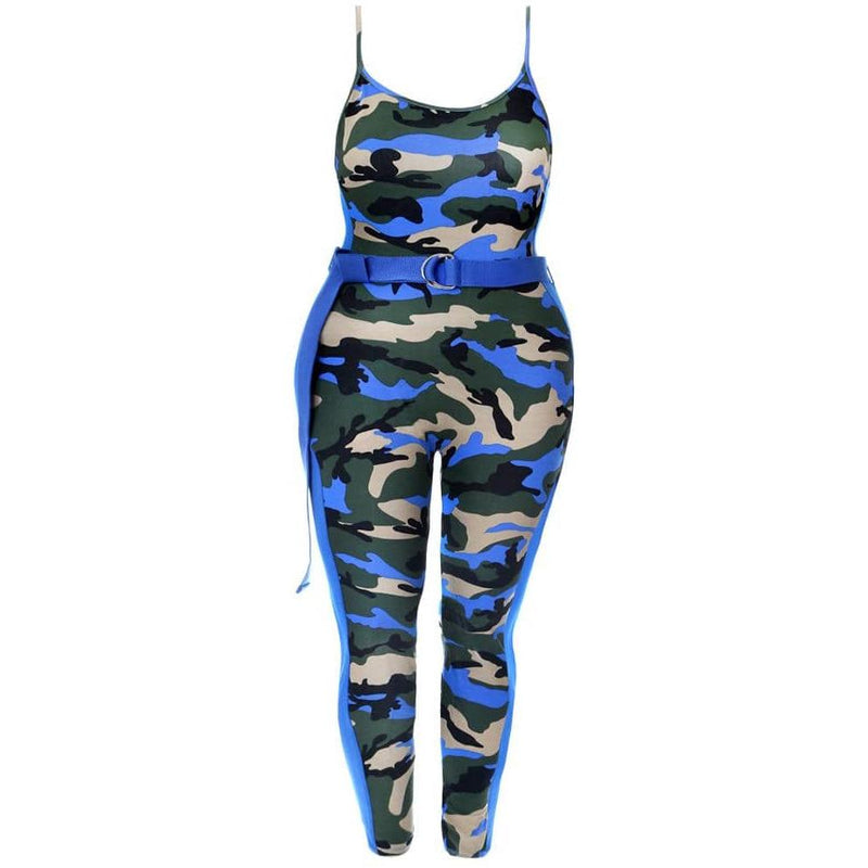 Posh Shoppe: Plus Size Belted Camo Jumpsuit, Blue Camo Print Bottoms