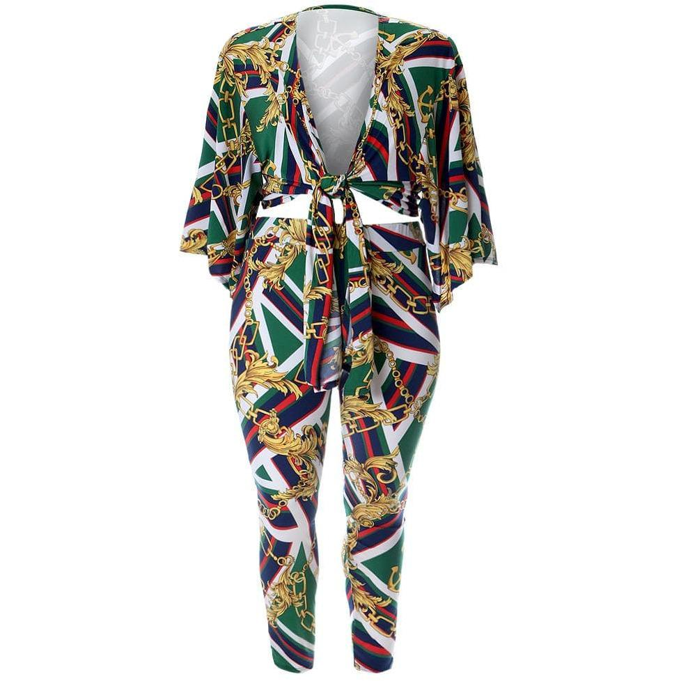 Posh Shoppe: Plus Size 2 Piece Wrap Kimono Top and Leggings Set, Chain Print Bottoms
