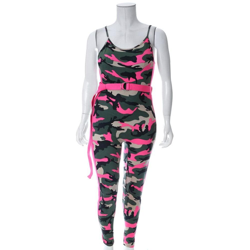 Posh Shoppe: Plus Size Belted Camo Jumpsuit, Neon Pink Camo Print Bottoms