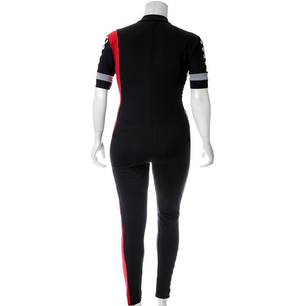 Plus Size Zip Up Racer Bodysuit, Black and Red
