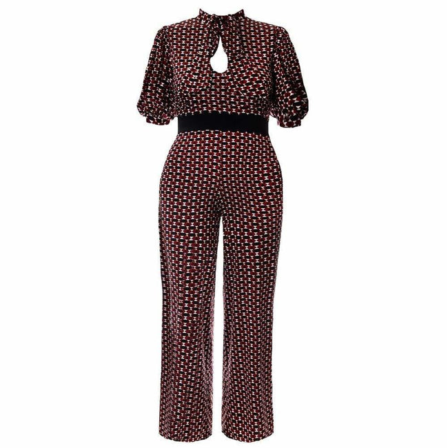 Plus Size Tie Blouse Top Jumpsuit