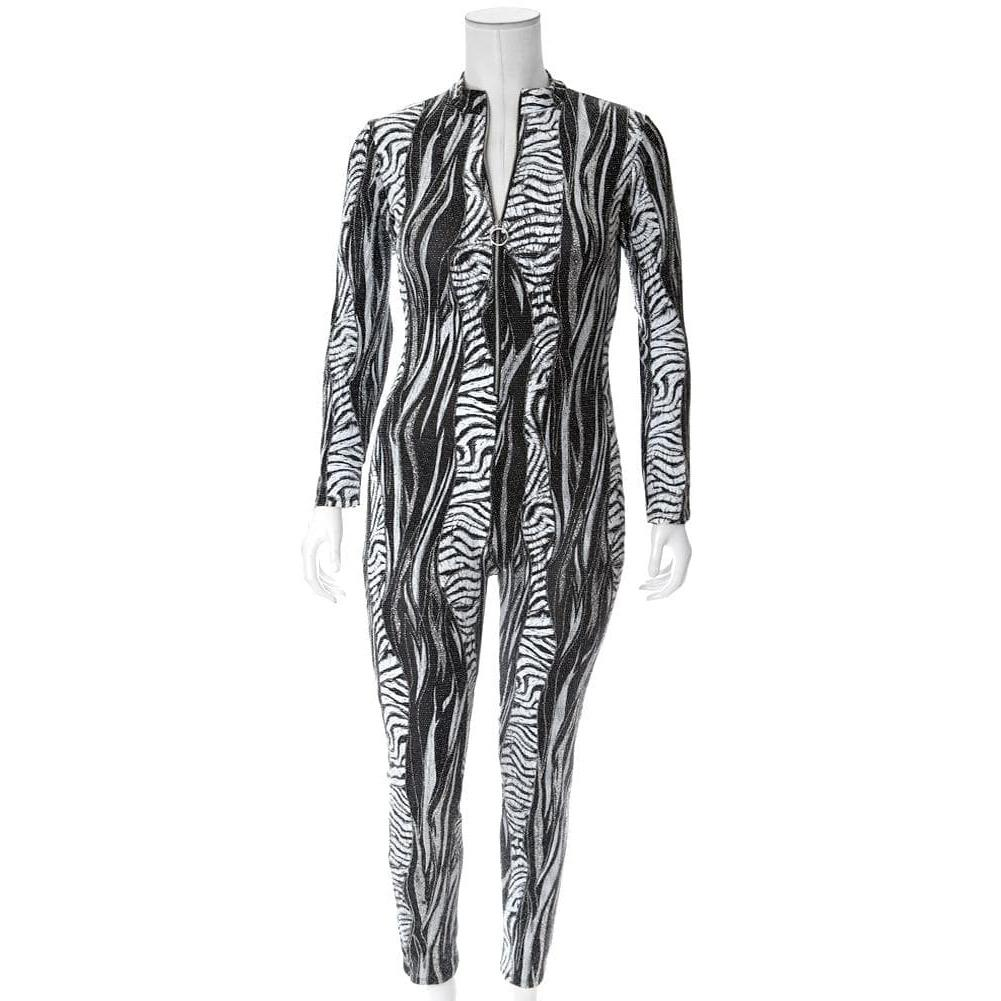 Posh Shoppe: Plus Size Metallic Weave Animal Print Bodysuit Bottoms