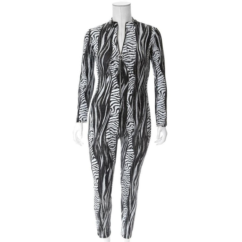 Plus Size Metallic Weave Animal Print Bodysuit