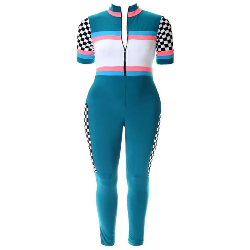 Plus Size Zip Up Racer Jumpsuit, Teal