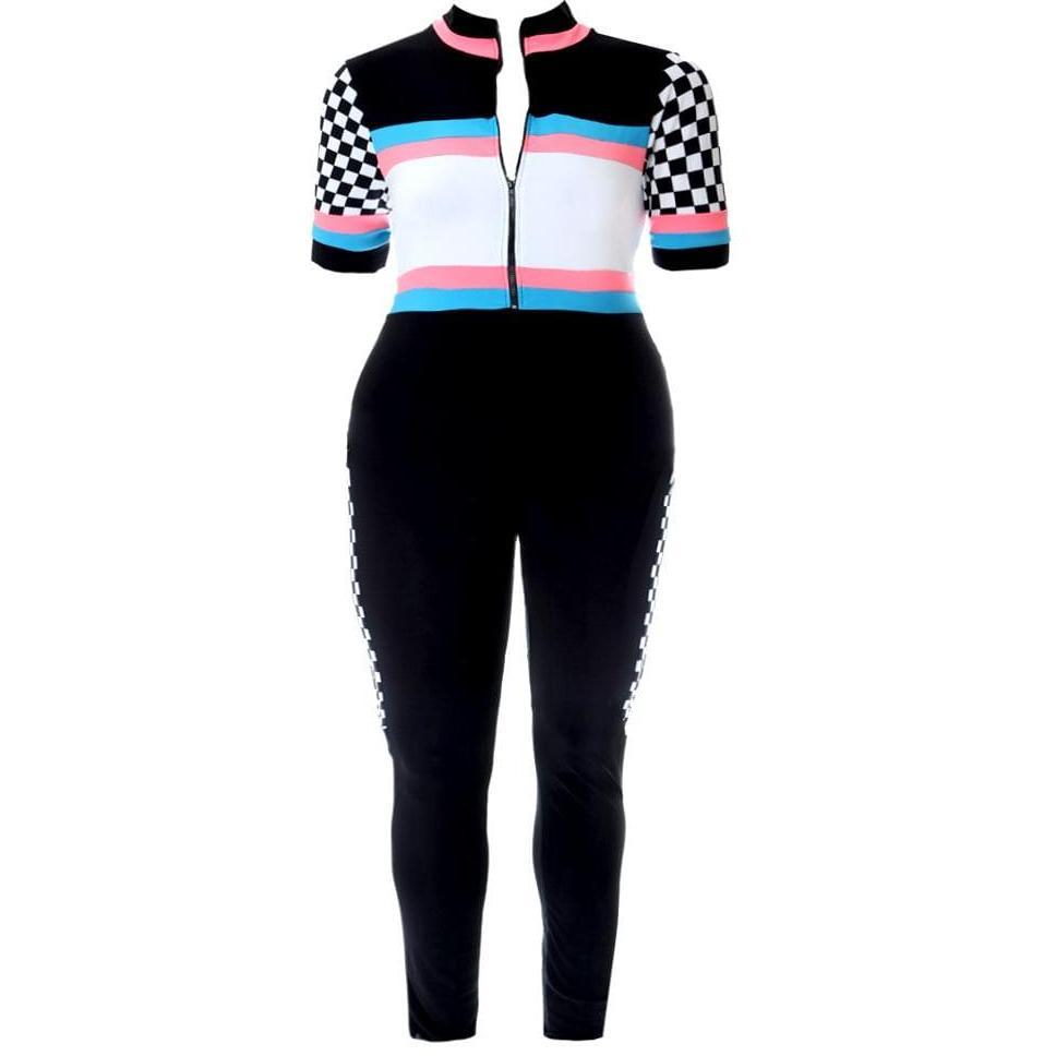 Posh Shoppe: Plus Size Zip Up Racer Jumpsuit, Black Bottoms