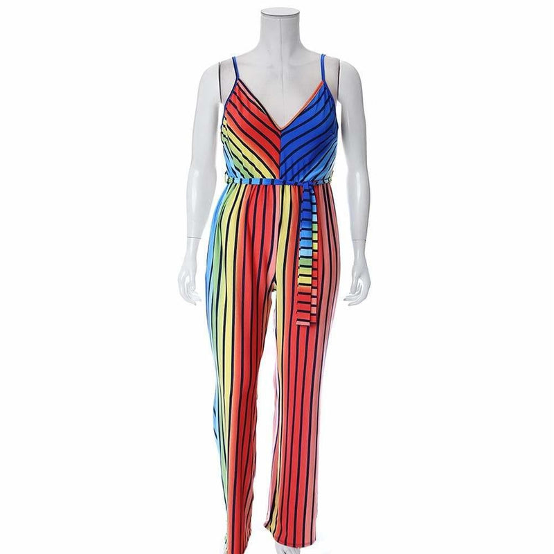 Plus Size Sleeveless Jumpsuit, Disco Rainbow