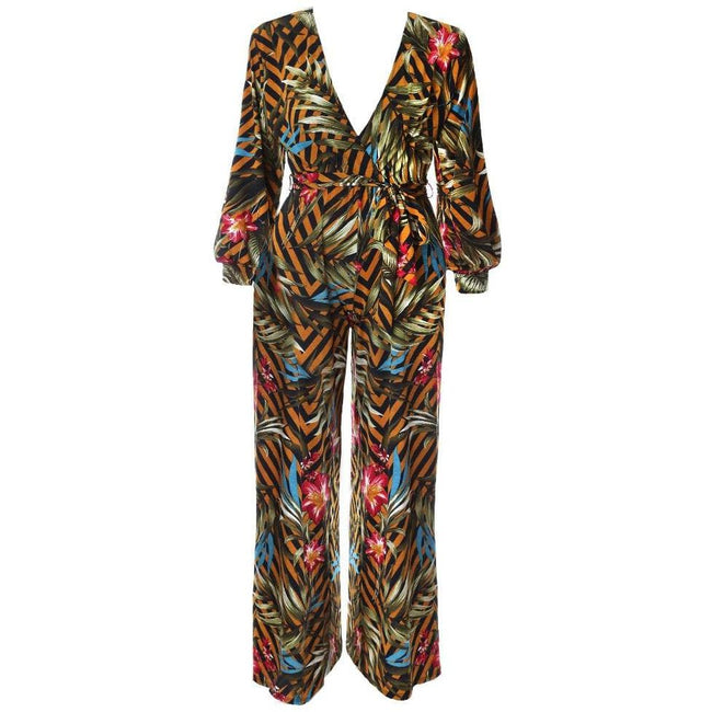 Posh Shoppe: Plus Size Blouse Sleeve Printed Jumpsuit Bottoms