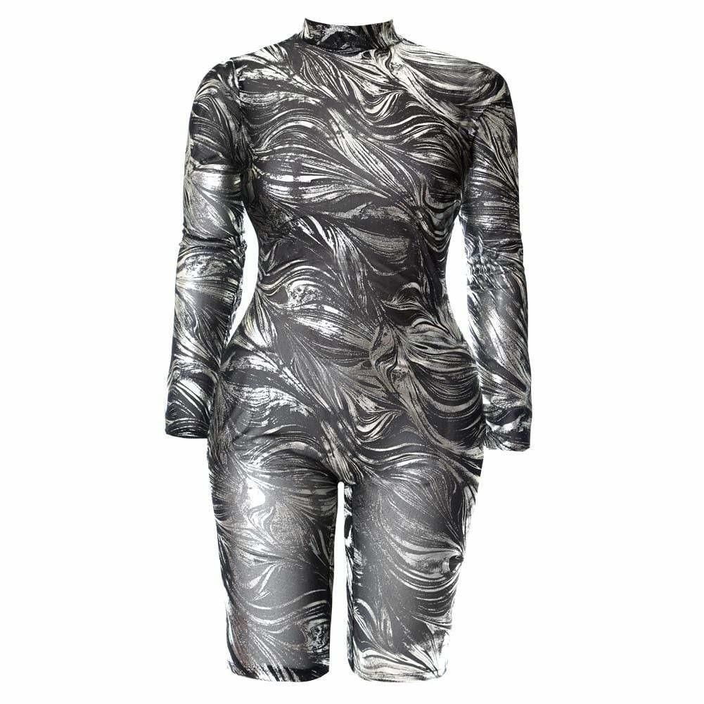Posh Shoppe: Plus Size Metallic Swirl Jumpsuit Bottoms