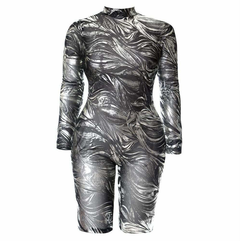 Plus Size Metallic Swirl Jumpsuit