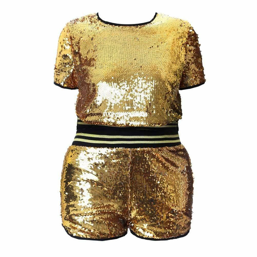 Plus Size Sequins Tee and Track Shorts Set, Gold – Posh Shoppe