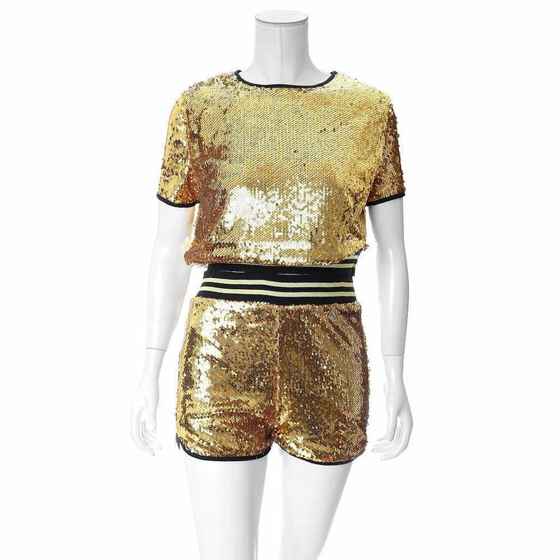 Posh Shoppe: Plus Size Sequins Tee and Track Shorts Set, Gold Bottoms