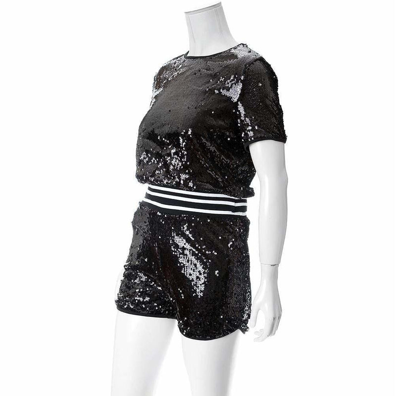 Plus Size Sequins Tee and Track Shorts Set, Black