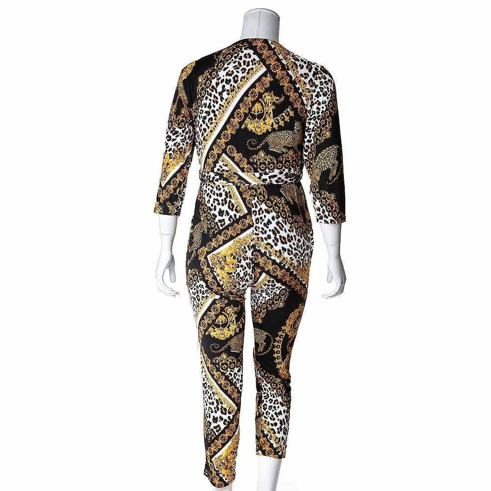 Posh Shoppe: Plus Size Chain Couture Print Jumpsuit Bottoms