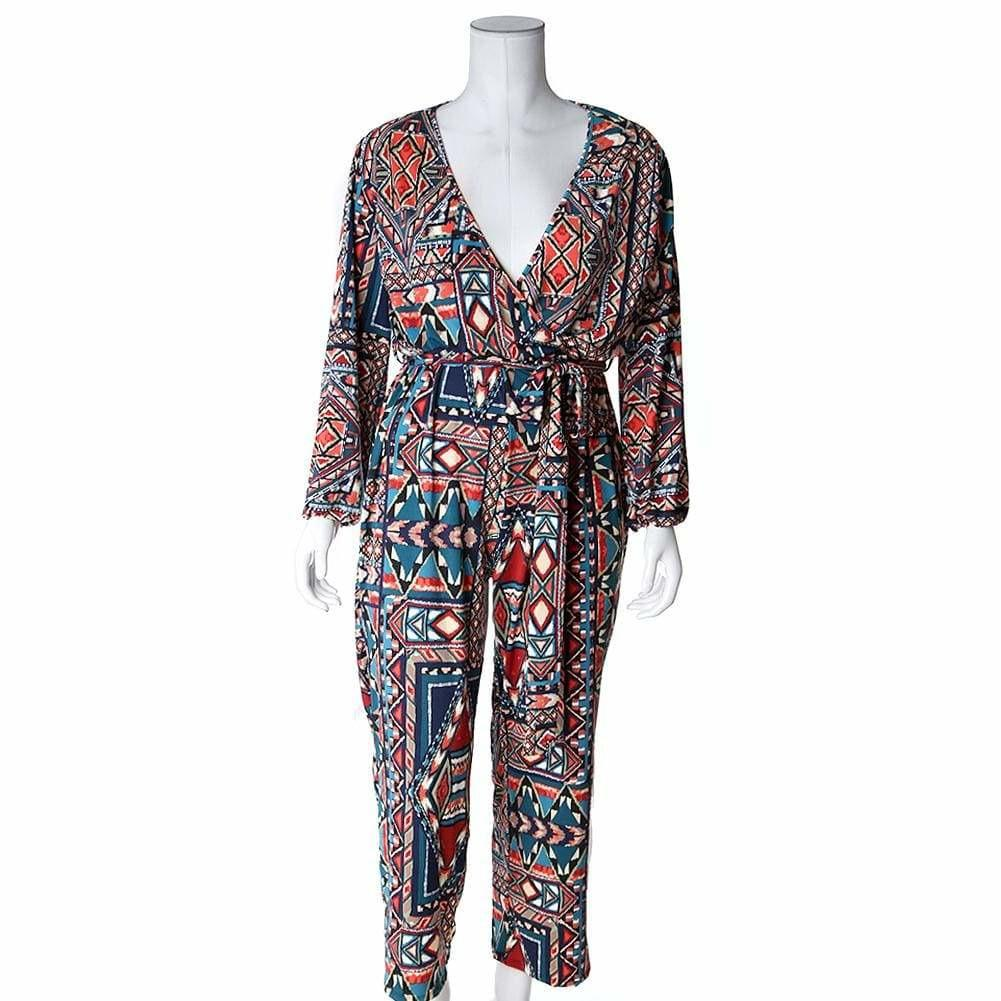 Posh Shoppe: Plus Size Belted Printed Wide Leg Jumpsuit, Orange & Teal Bottoms