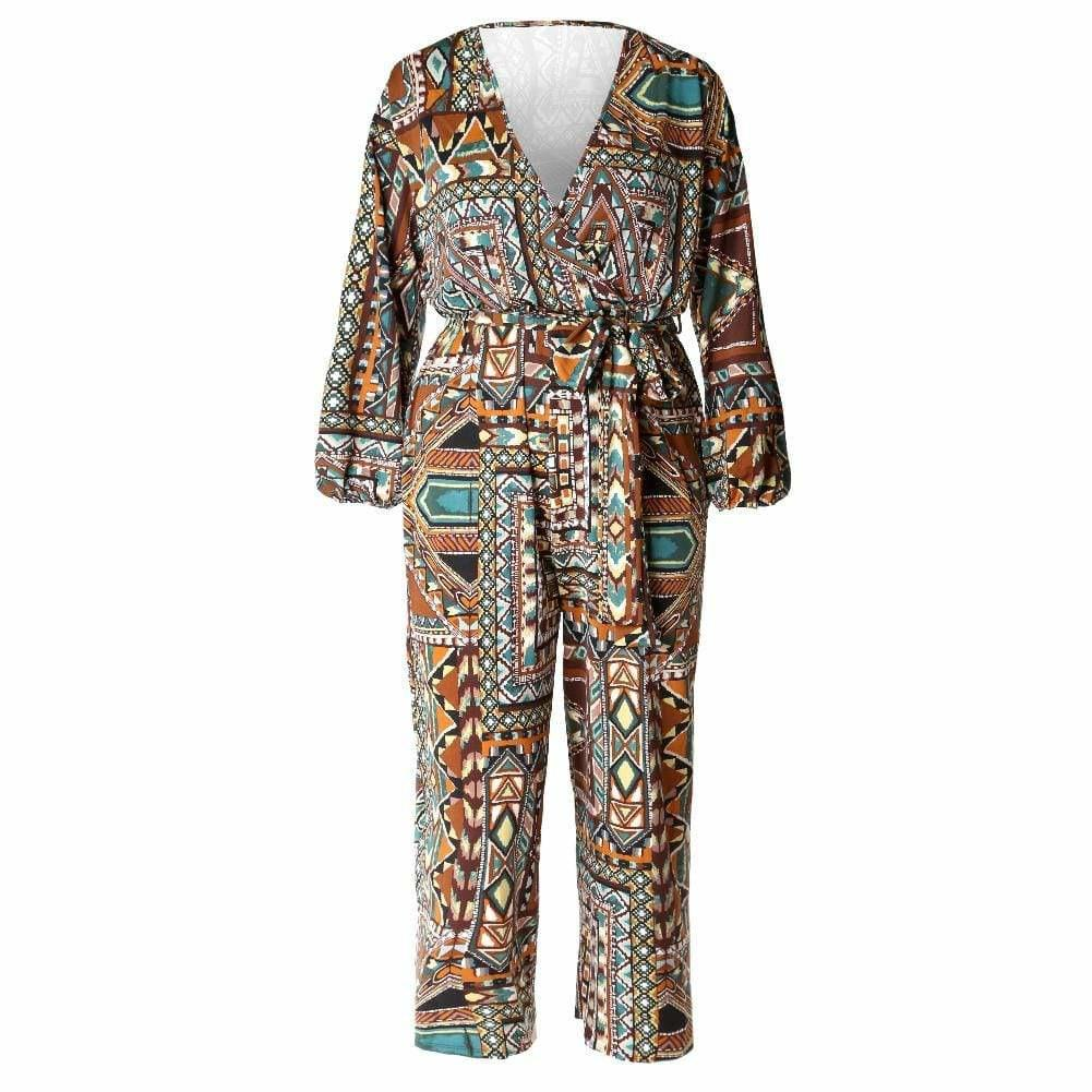 Posh Shoppe: Plus Size Belted Printed Wide Leg Jumpsuit, Brown & Mustard Bottoms