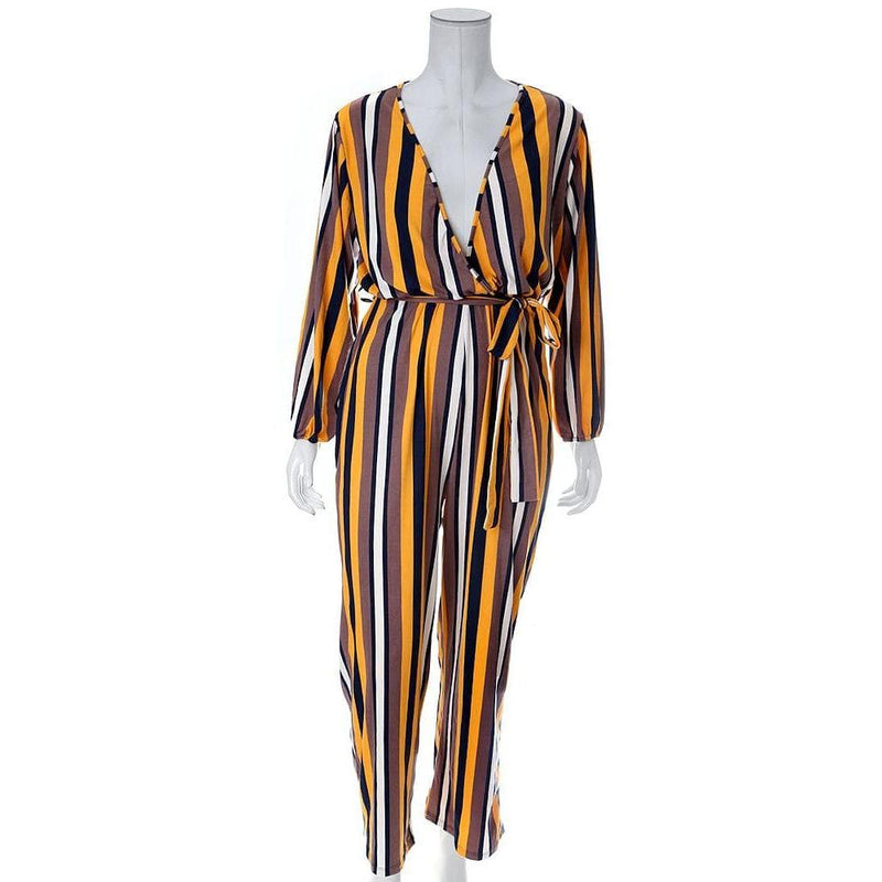 Posh Shoppe: Plus Size Belted Striped Wide Leg Jumpsuit, Mustard & Mauve Bottoms
