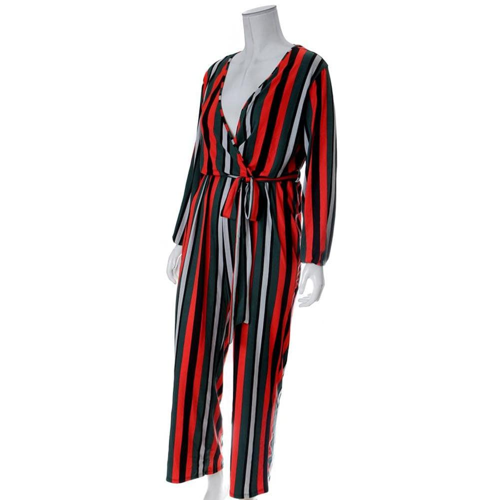 Posh Shoppe: Plus Size Belted Striped Wide Leg Jumpsuit, Red & Green Bottoms