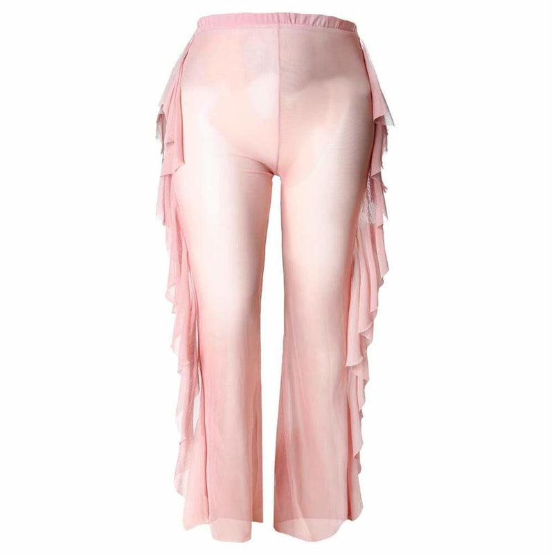 Plus Size Ruffle Trim Mesh Pants, Blush