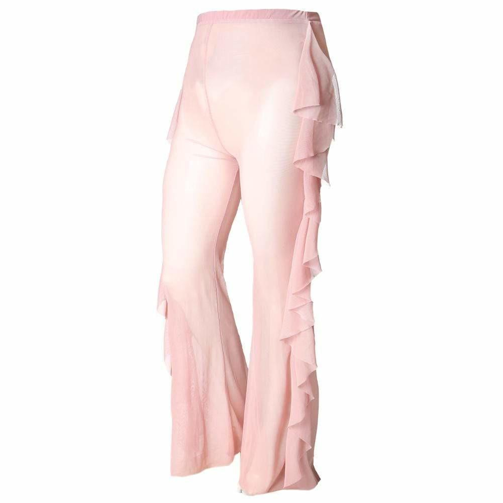 Posh Shoppe: Plus Size Ruffle Trim Mesh Pants, Blush Bottoms