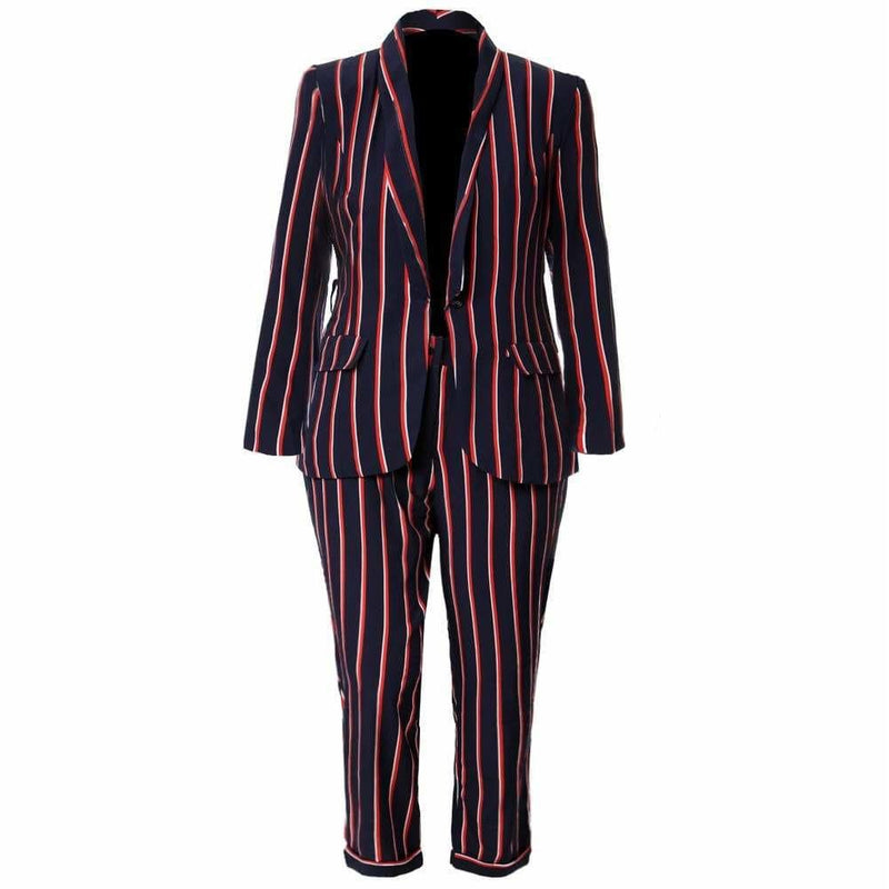 Plus Size Pin Stripe Belted Suit Set
