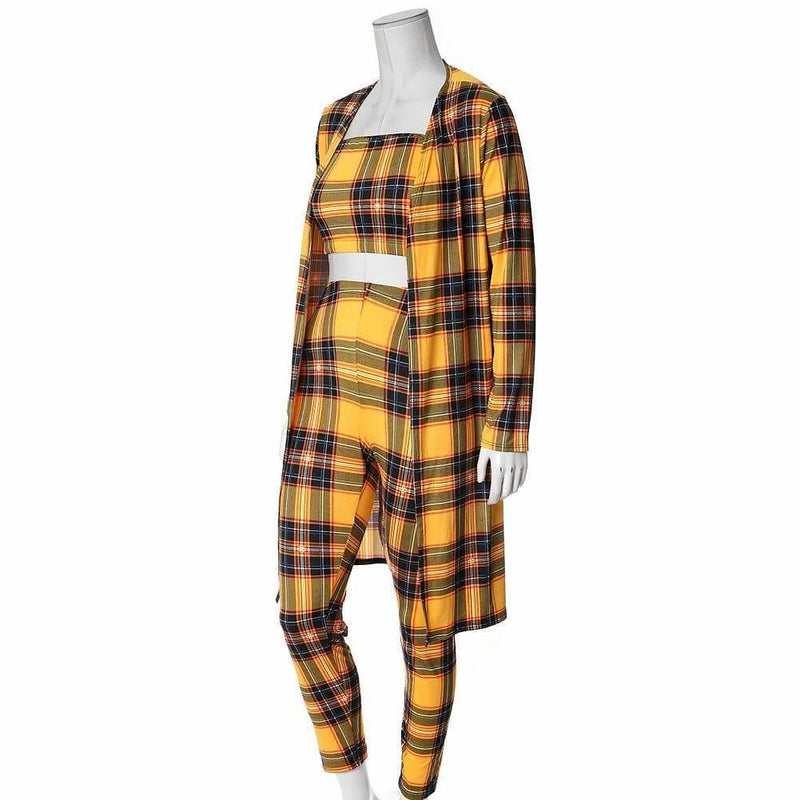 Posh Shoppe: Plus Size 3 Piece Duster, Top, and Leggings Set, Mustard Plaid Bottoms
