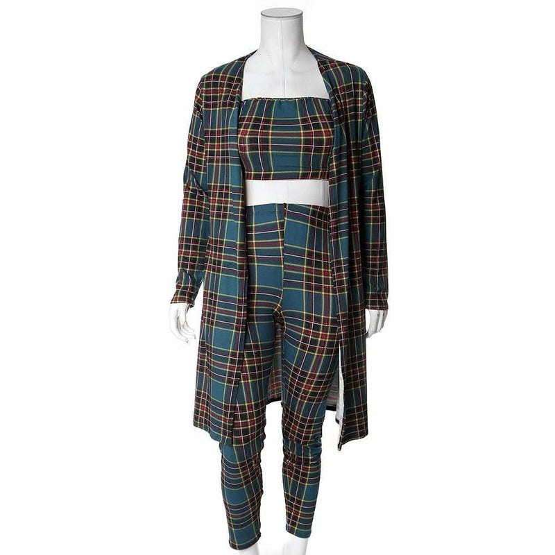 Posh Shoppe: Plus Size 3 Piece Duster, Top, and Leggings Set, Forest Green Plaid Bottoms
