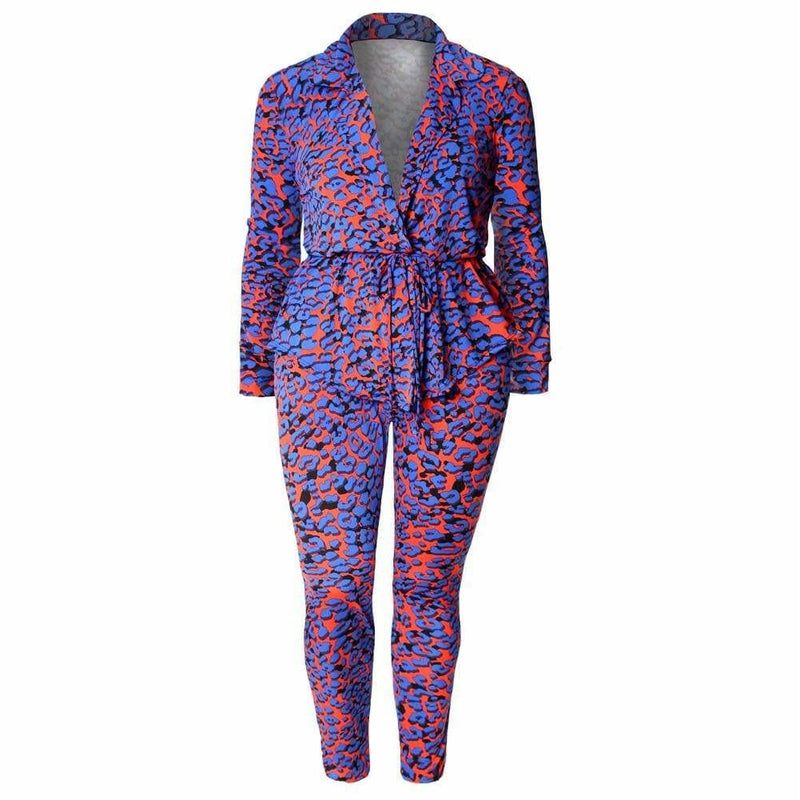 Posh Shoppe: Plus Size Animal Print Shirt Jacket and Leggings Set, Blue & Red Bottoms