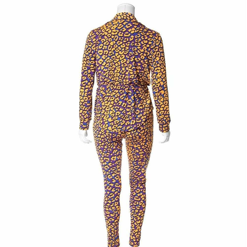 Posh Shoppe: Plus Size Animal Print Shirt Jacket and Leggings Set, Yellow & Purple Bottoms