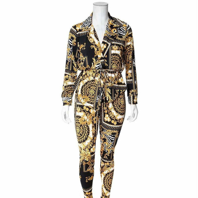 Posh Shoppe: Plus Size Chain Print Shirt Jacket and Leggings Set, White & Gold Bottoms