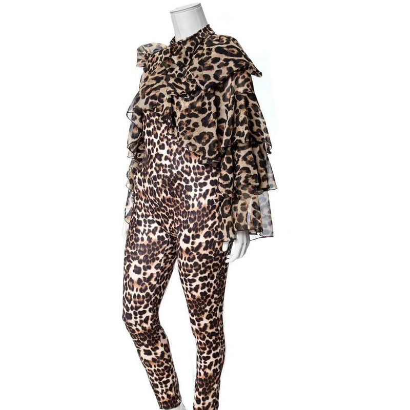 Plus Size Ruffled Chiffon Top Animal Print Jumpsuit