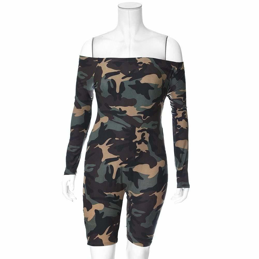 Plus Size Off Shoulder Cotton Jumpsuit, Camo