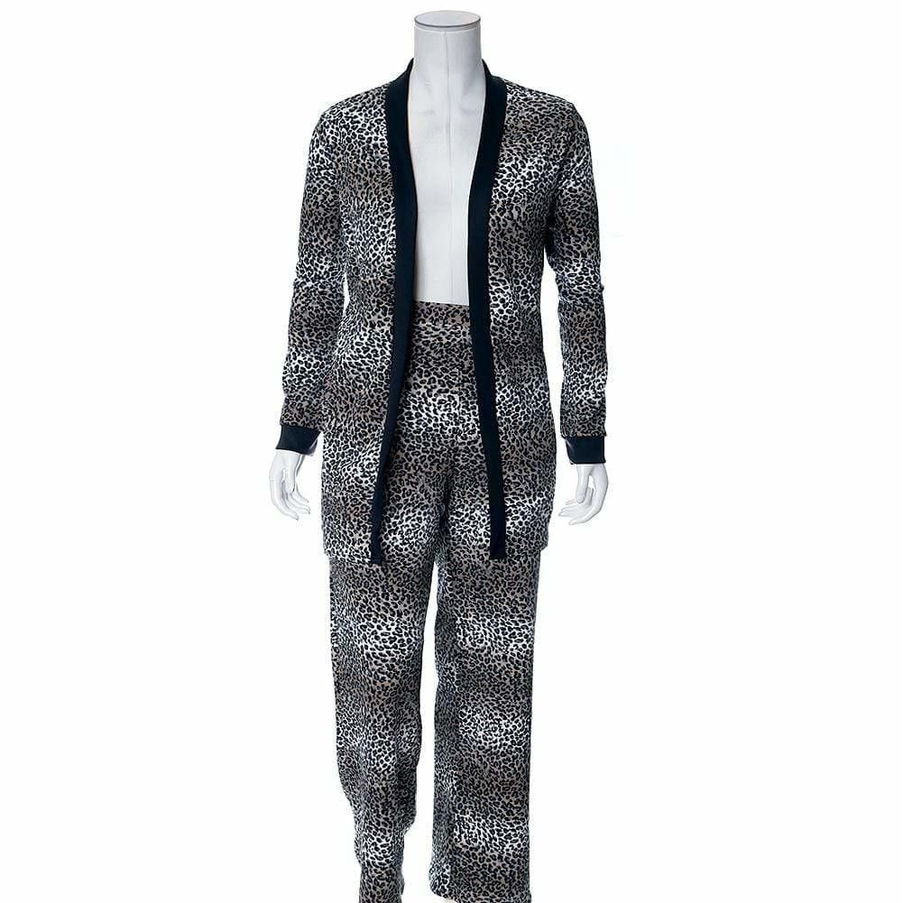 Posh Shoppe: Plus Size 2 Piece Cardigan and Pants Set, Gray Animal Print Bottoms