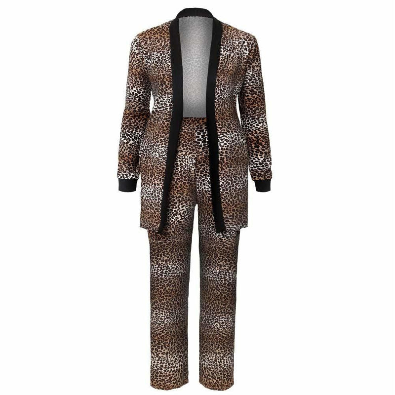 Posh Shoppe: Plus Size 2 Piece Cardigan and Pants Set, Brown Animal Print Bottoms
