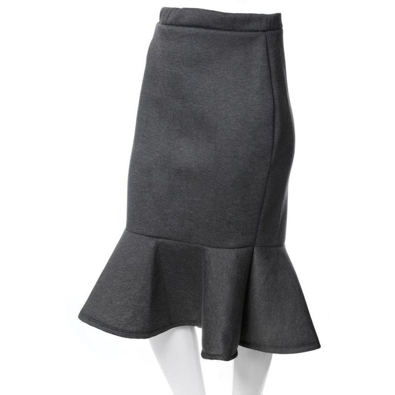 Plus Size Fluted Scuba Skirt, Charcoal