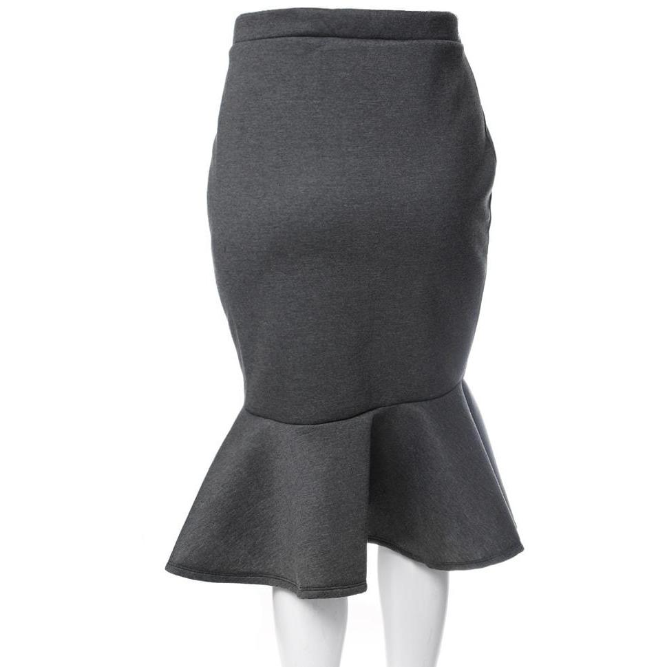 Posh Shoppe: Plus Size Fluted Scuba Skirt, Charcoal Bottoms