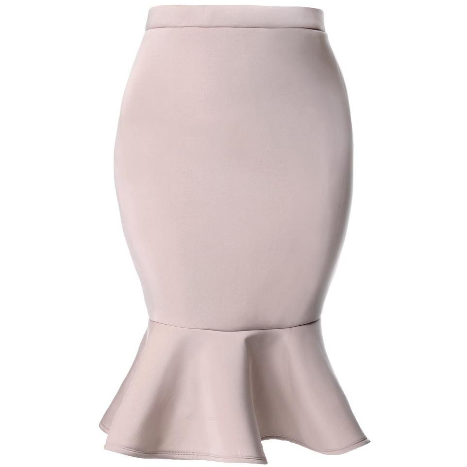 Posh Shoppe: Plus Size Fluted Scuba Skirt, Dusty Rose Bottoms