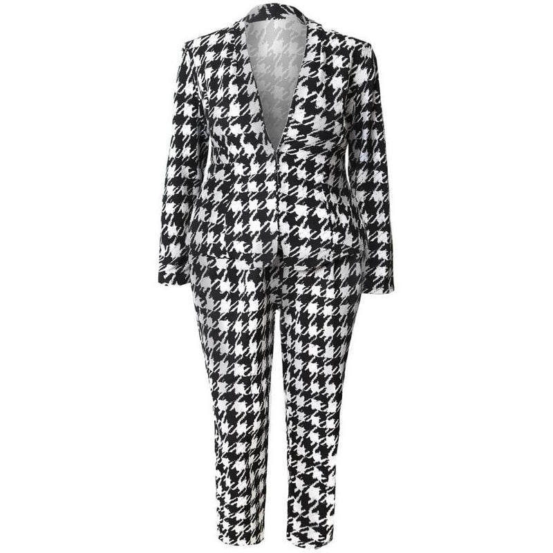 Plus Size Houndstooth Jacket and Pants Set