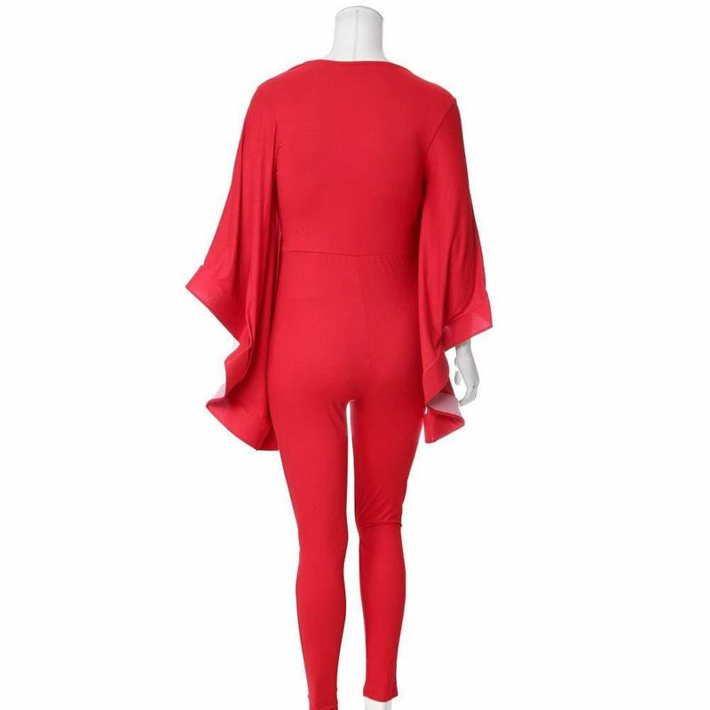 Posh Shoppe: Plus Size Cascade Sleeve Jumpsuit, Red Bottoms