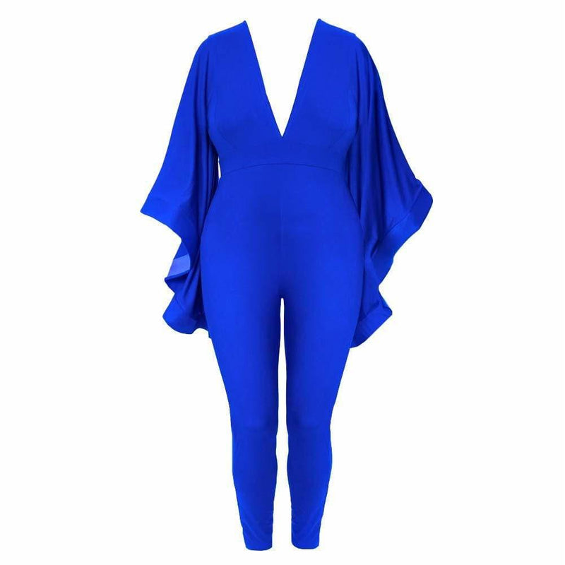 Posh Shoppe: Plus Size Cascade Sleeve Jumpsuit, Cobalt Bottoms