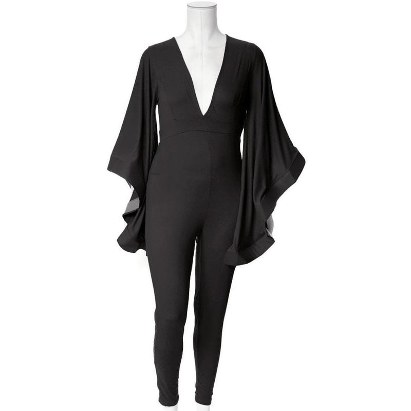 Posh Shoppe: Plus Size Cascade Sleeve Jumpsuit, Black Bottoms