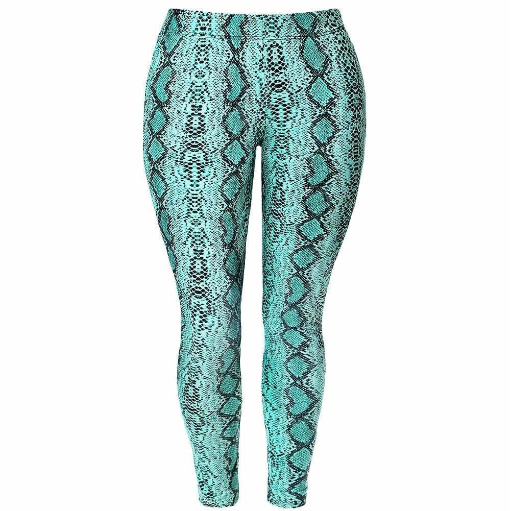 Posh Shoppe: Plus Size Snake Skin Leggings, Neon Blue Bottoms