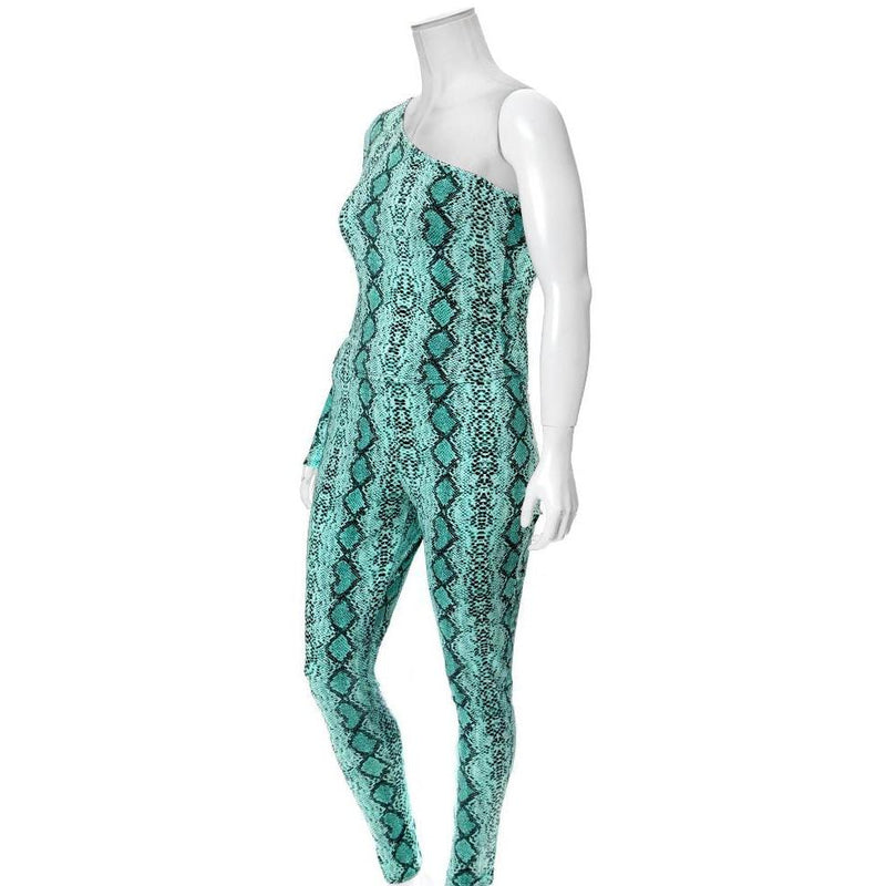 Plus Size Snake Skin Leggings, Neon Blue