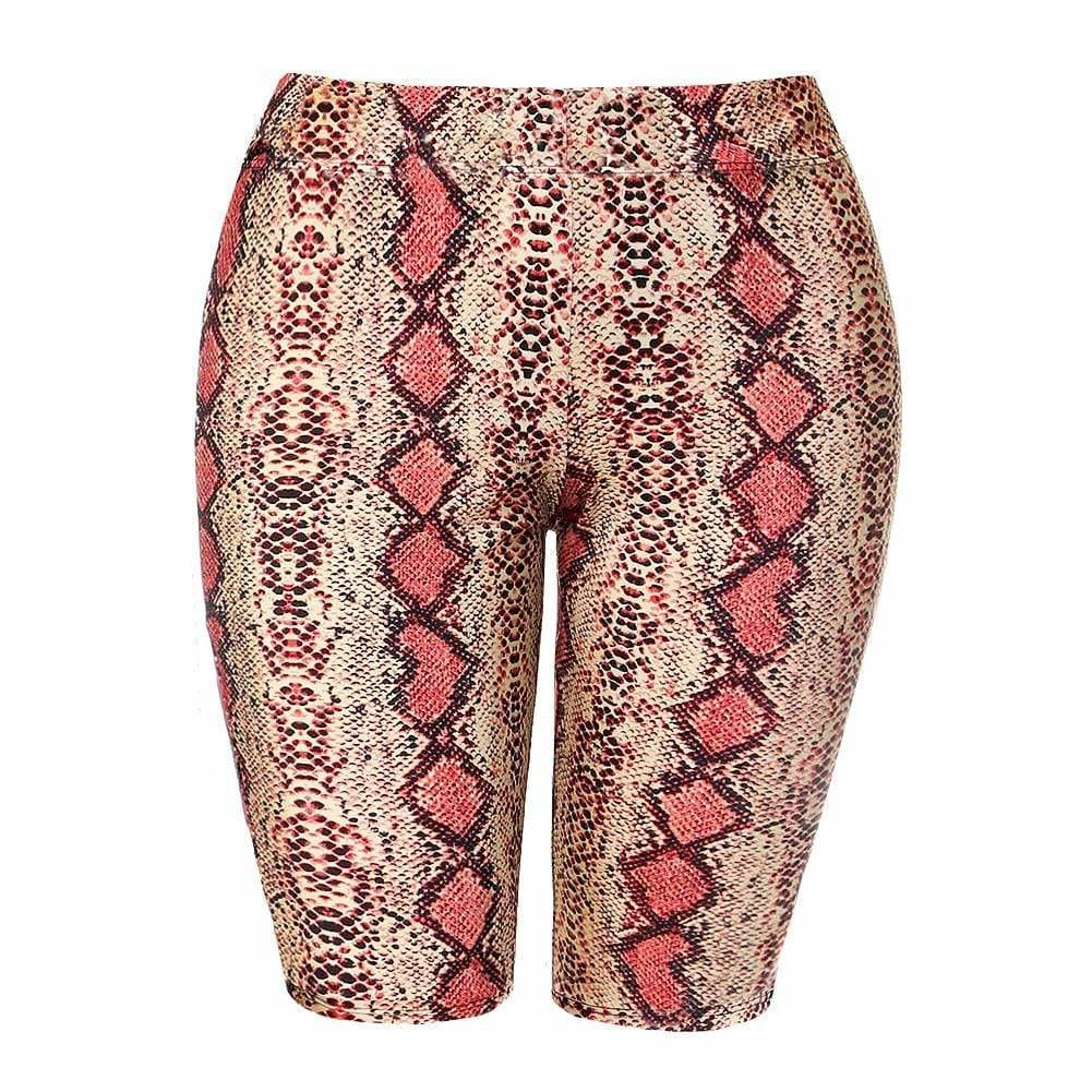 Posh Shoppe: Plus Size Snake Skin Biker Shorts, Salmon Pink Bottoms