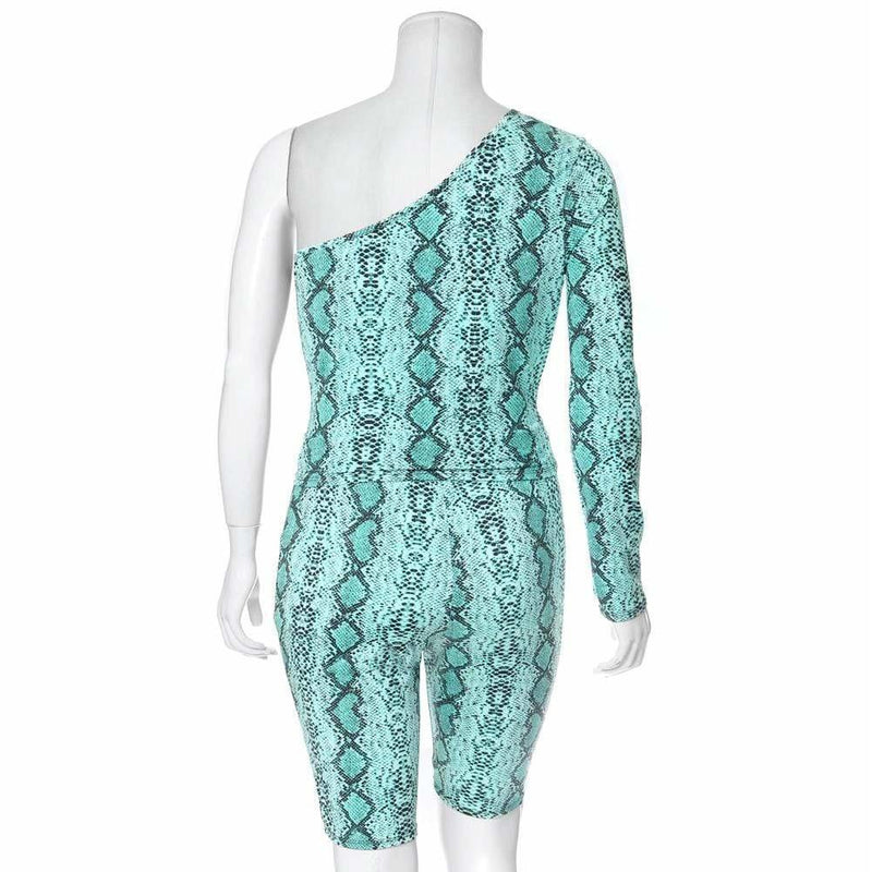 Posh Shoppe: Plus Size Snake Skin Biker Shorts, Neon Blue Bottoms