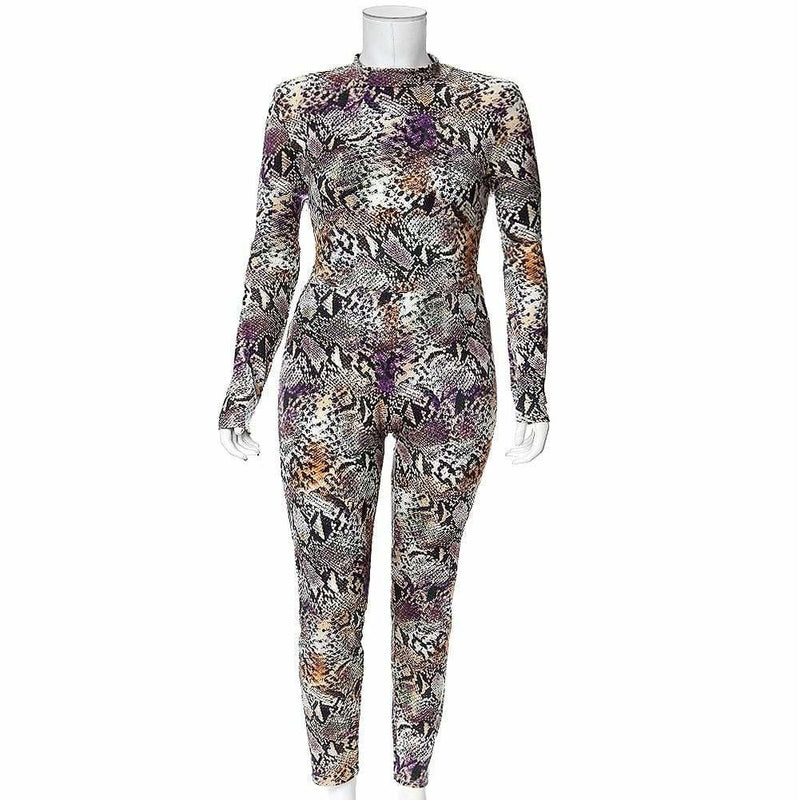 Plus Size Snake Print 2 Piece Mock Neck Top and Leggings