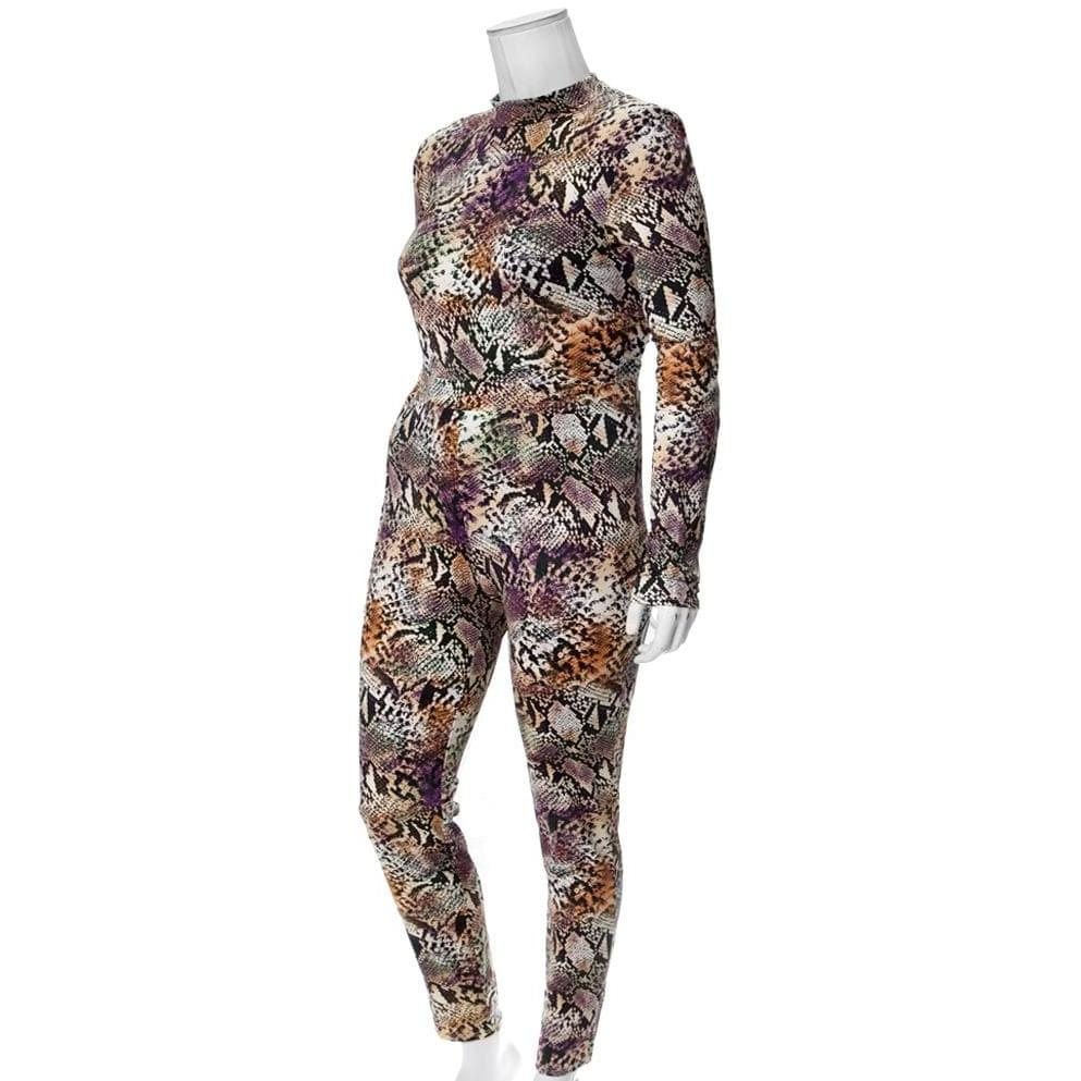 Posh Shoppe: Plus Size Snake Print 2 Piece Mock Neck Top and Leggings Bottoms